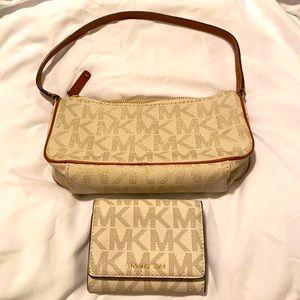 Authentic new Michael Kors MK logo monogram pochette handbag and wallet white